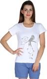 Faireno Printed Women's Round Neck White...