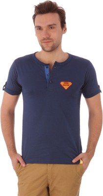 Campus Sutra Solid Men's Henley Blue T-Shirt