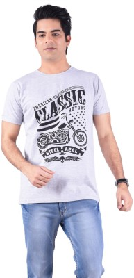 Acasual Wear Printed Men's Round Neck Grey T-Shirt