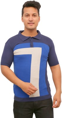 Protex Geometric Print Men's Polo Neck Blue T-Shirt