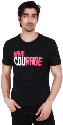 Change360 Printed Men's Round Neck Black T-Shirt
