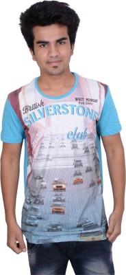 Being Dessi Printed Men's Round Neck Blue T-Shirt