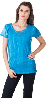 Gypsy Soul Solid Women's Round Neck Blue T-Shirt