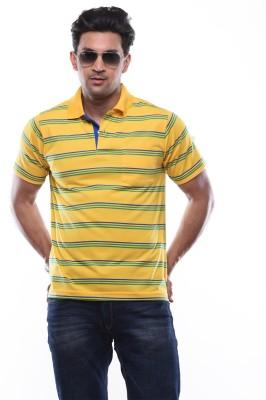 SHAYAN EXPORT Striped Men's Flap Collar Neck Yellow T-Shirt