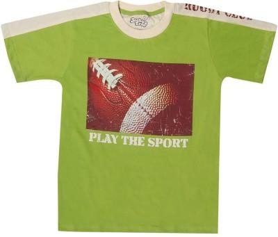 Joshua Tree Printed Boy's Round Neck Green T-Shirt