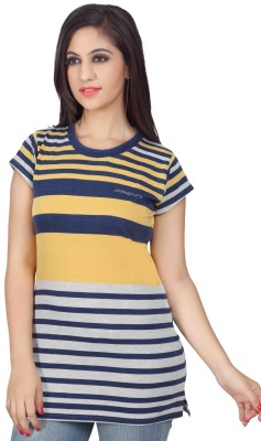 Prova Striped Women's Round Neck Yellow, Blue, Grey T-Shirt
