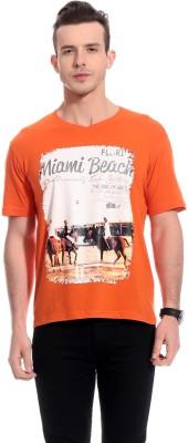 TAB91 Printed Men's Round Neck Orange T-Shirt