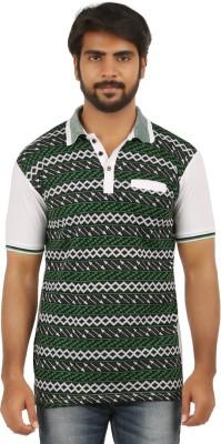 curviva Geometric Print Men's Polo Neck White T-Shirt