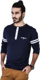 Mr Button Solid Men's Round Neck Blue T-...