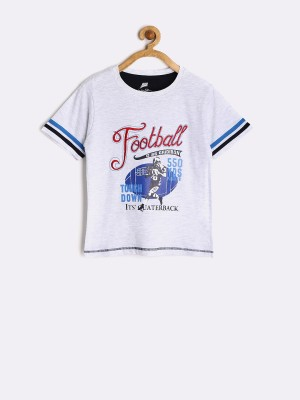 Yellow Kite Printed Boy's Round Neck White T-Shirt