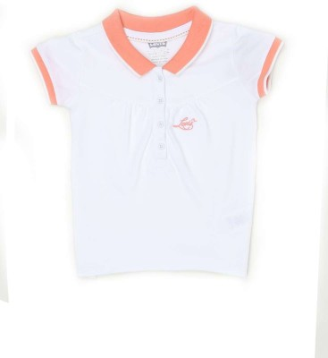 Levis Kids Solid Girl's Polo Neck White T-Shirt