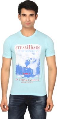 Strak Printed Men's Round Neck Light Blue T-Shirt