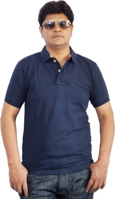Scottland Solid Men's Polo Neck Dark Blue T-Shirt
