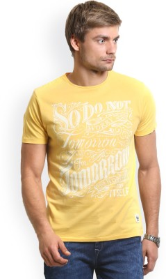 HW Printed Men,s Round Neck Yellow T-Shirt