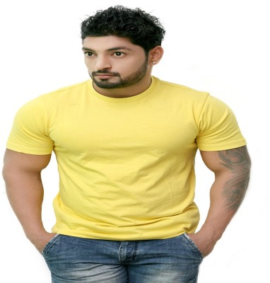 Pikcart Solid Men's Round Neck Yellow T-Shirt
