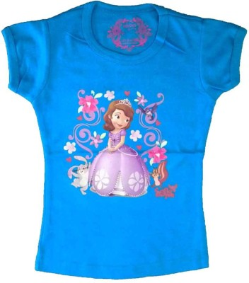 Cool Baby Printed Girl's Round Neck Blue T-Shirt