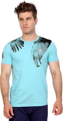 Maniac Graphic Print Men's Round Neck Light Blue T-Shirt