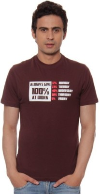 Fizzaro Solid Men's Round Neck Brown T-Shirt