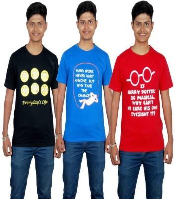 Molecules Printed Men's Round Neck Black, Blue, Red T-Shirt