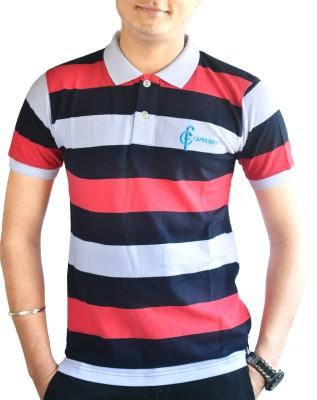 CAPRICIOUS Striped Men's Polo Neck Pink, Black, White T-Shirt