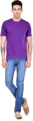 Scott International Solid Men's Round Neck Purple T-Shirt