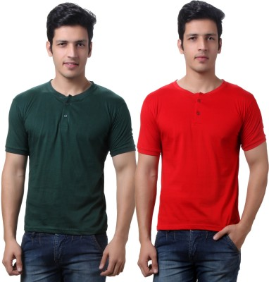 TeeMoods Solid Mens Henley Red, Dark Green T-Shirt