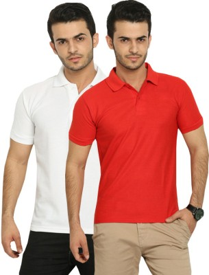 Fundoo-T Solid Men's Polo White, Red T-Shirt