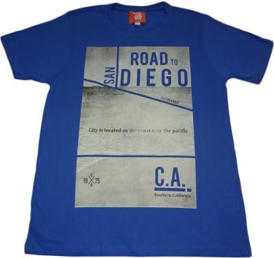 Rayon Printed Men's Round Neck Blue T-Shirt