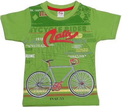 Kyle Graphic Print Baby Boy's Round Neck Green T-Shirt