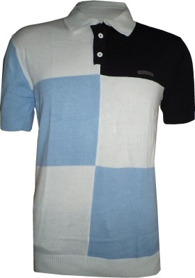 Tick Lish Striped Men's Polo Neck White, Light Blue, Black T-Shirt