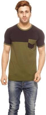 Gritstones Solid Men's Round Neck Black T-Shirt