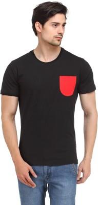 Happy Hippie Solid Men's Round Neck Black, Red T-Shirt