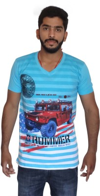 Uniqe Printed Men's V-neck T-Shirt