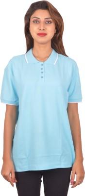 Blueash Self Design Women's Polo Neck Blue T-Shirt