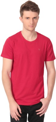Howzat Solid Men's V-neck Red T-Shirt