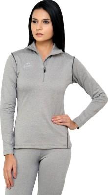 Dida Sportswear Solid Women's Polo Neck Grey, White T-Shirt