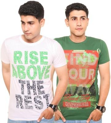 Zwizdot Printed Men,s Round Neck Green, White T-Shirt