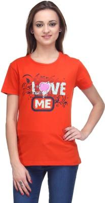 Stilestreet Printed Women's Round Neck Orange T-Shirt