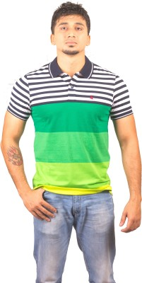 Lionel Striped Men's Polo Neck Green T-Shirt