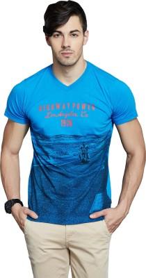 Route 66 Printed Men's V-neck Blue T-Shirt