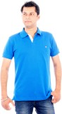 Wells Smith Solid Men's Polo Neck Blue T...