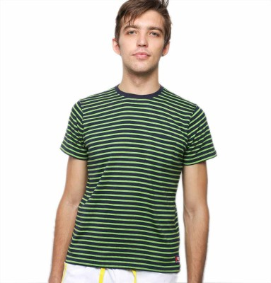 American Swan Striped Men's Round Neck Green T-Shirt