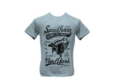 Contablue Graphic Print Men's Round Neck Grey T-Shirt