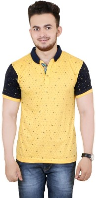 Zrestha Printed Men's Round Neck Yellow T-Shirt