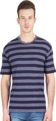 Hypernation Striped Men's Round Neck Blue, Grey T-Shirt
