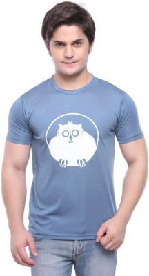 Purys Printed Men,s Round Neck Grey T-Shirt