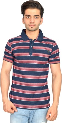 Urban Trail Striped Men's Polo Neck Maroon T-Shirt