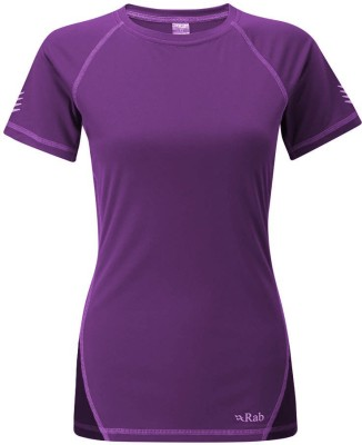 Rab Solid Women's Round Neck Purple T-Shirt