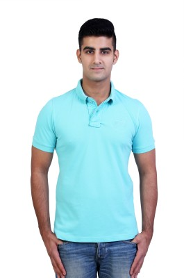 Bridge Solid Men's Polo Neck Light Blue T-Shirt