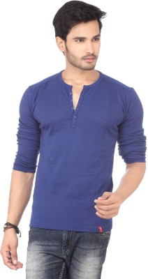 DXI Solid Men's Henley Blue T-Shirt